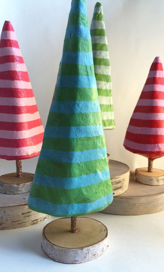 Green and blue paper mache Christmas tree by SarahHandArt on Etsy