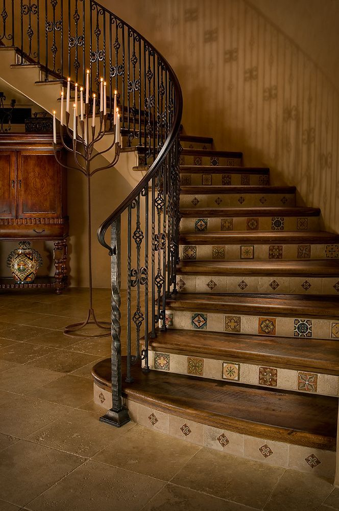 Best Spanish Tiles And Rustic Metal Railing Stairway Design 400 x 300