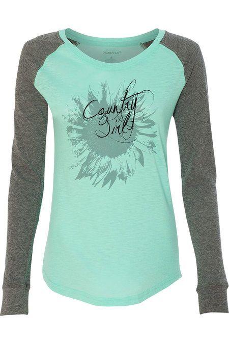 Juniors Country Girl® Sunflower Patch Raglan T-shirt
