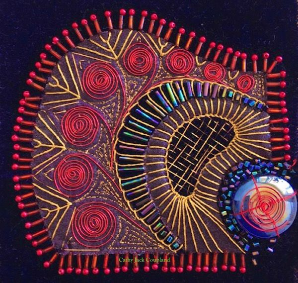 'Elegance' - hand embroidery and beading using colours and textures which represent elegance.