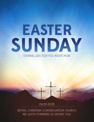 Easter Sunday is a time to reflect on the sacrifice Jesus made for all humanity and to celebrate of His awesome victory over sin and death through His resurrection. Announce the upcoming joyful occasion using the clear message in this religious Easter flyer. #Sharefaith #Easter #EasterMedia #Faith #ChurchMedia #Flyer