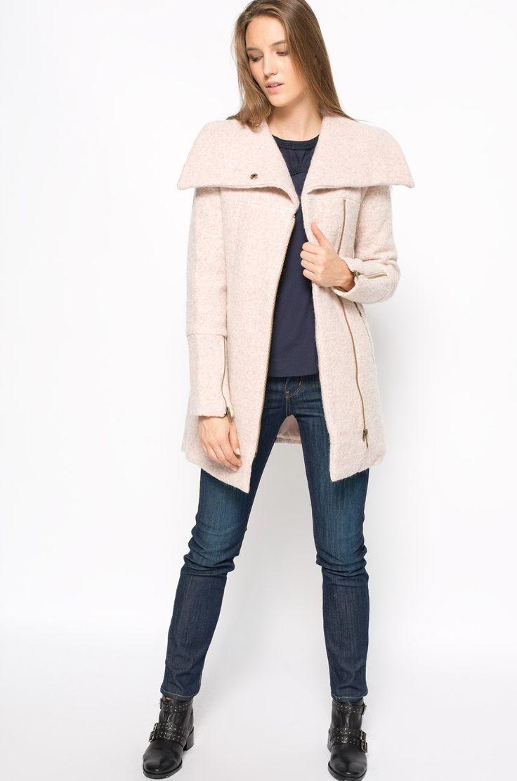 Rose Quartz - Palton roz cu fermoar lateral - Review