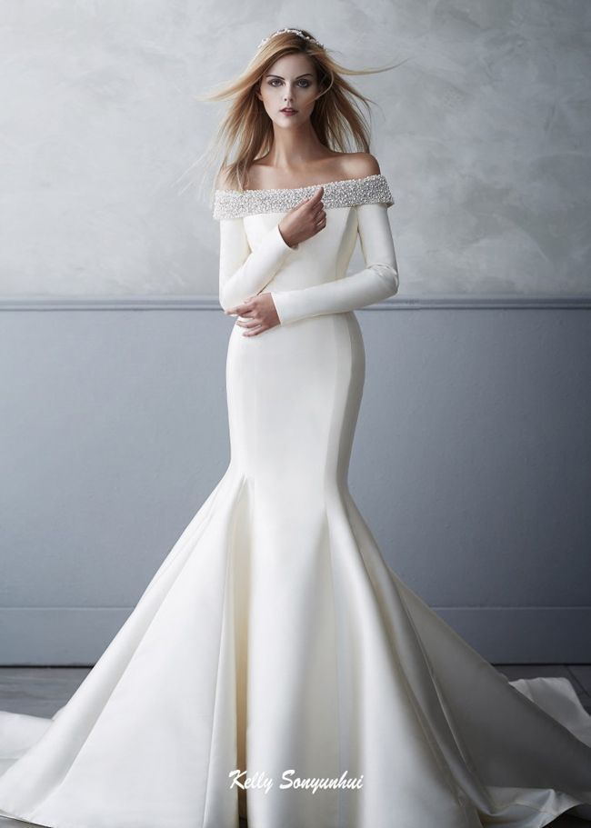 Minimal Design Wedding Dress Bridal Haute Couture Collection Beautiful Luxury High Fashion White Minimalist Silk Gown