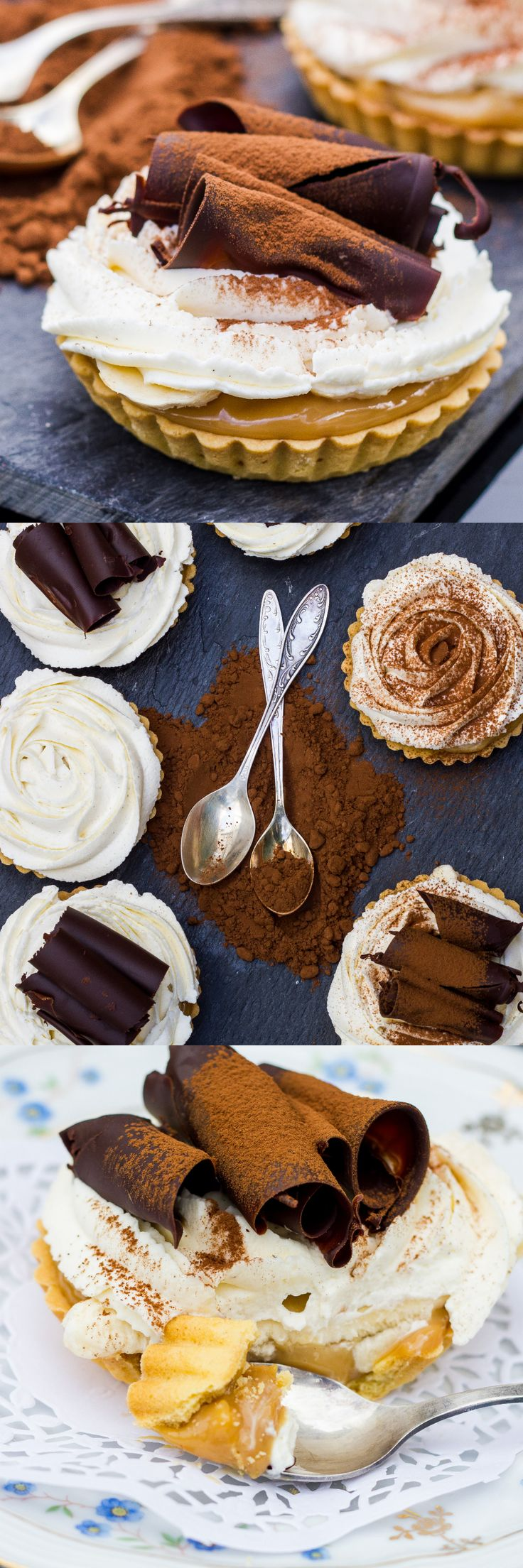 Banoffee Tartlets. Dulce de leche, mascarpone cream and chocolate curls. What could be better!