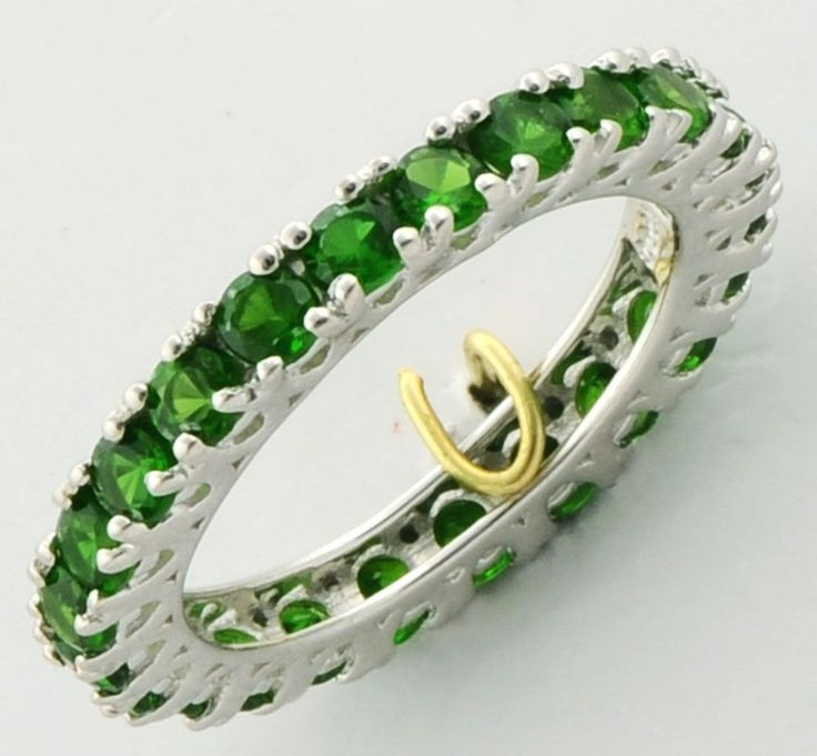 CHROME DIOPSIDE 2.30 CARAT GEMSTONE RING IN 925 STERLING SILVER JEWELRY