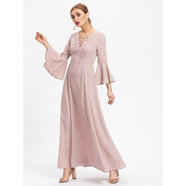 Lace Up Front Fluted Sleeve Dress ($26) ❤ liked on Polyvore featuring dresses, pink, white long-sleeve dresses, sexy summer dresses, maxi dresses, pink long sleeve dress and sexy long sleeve dresses