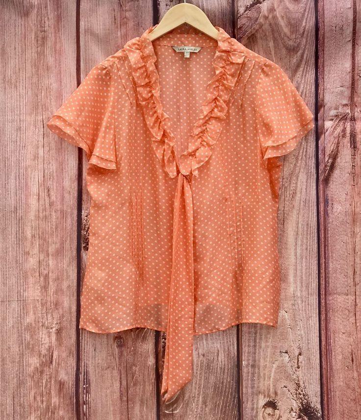 Laura Ashley blouse top Peach Colour white polka dot light summer wear plus size