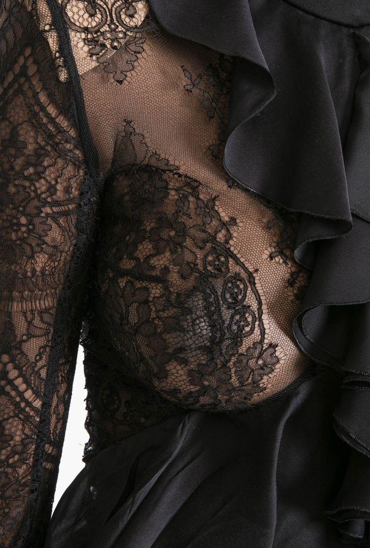 Chantilly lace and silk charmeuse ruffled top   Women's tops   Balmain