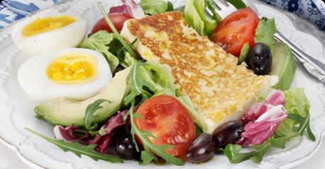 Apetina grill cheese (halloumi) with an olive-avocado salad