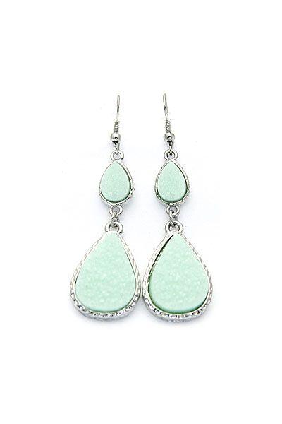 mint droplet earrings.
