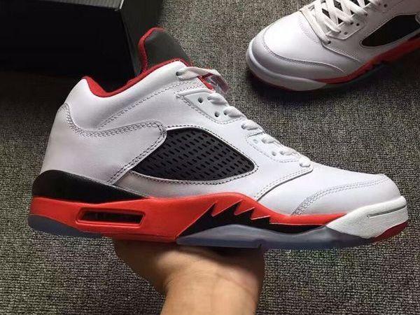 air jordan 5 retro v low white black red men and women basketball shoes aaa