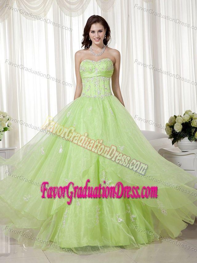 ... Floor-length Organza Beaded Yellow Green Grad Dress with Sweetheart