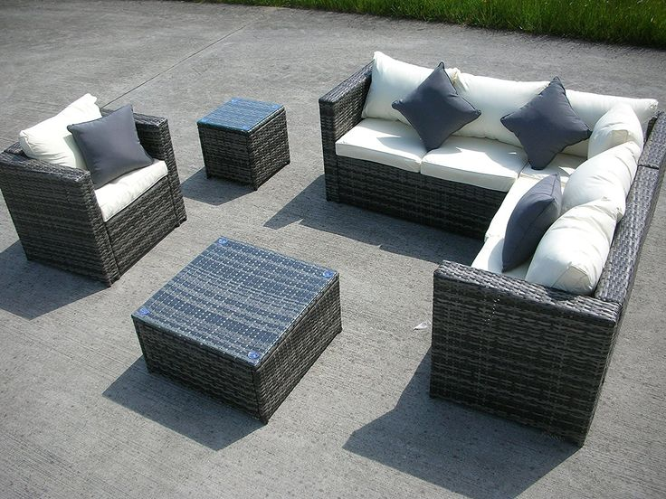 new grey rattan wicker conservatory outdoor garden furniture set corner sofa table amazonco - Garden Furniture Kidderminster