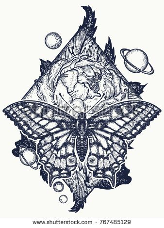 fbb7bcef41279 Butterfly, rose, and universe tattoo, geometrical style. Beautiful  Swallowtail boho t-shirt design. Mystical symbol of freedom, nature,  tourism.