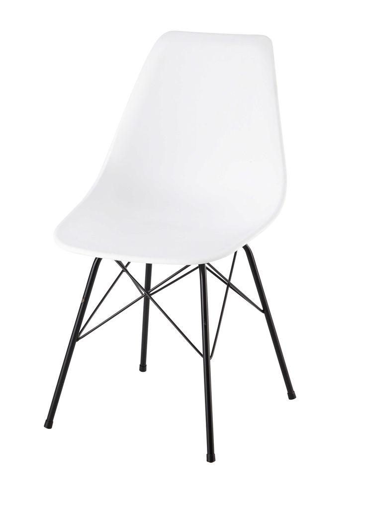 Stuhl aus Polypropylen und Metall, weiß Cardiff