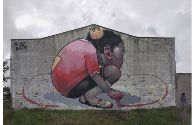 Aryz  aryz.es  Base Country: Spain  Type of work: Murals  Young and supremely talented, Aryz paints huge walls with a dark, illustrated style.