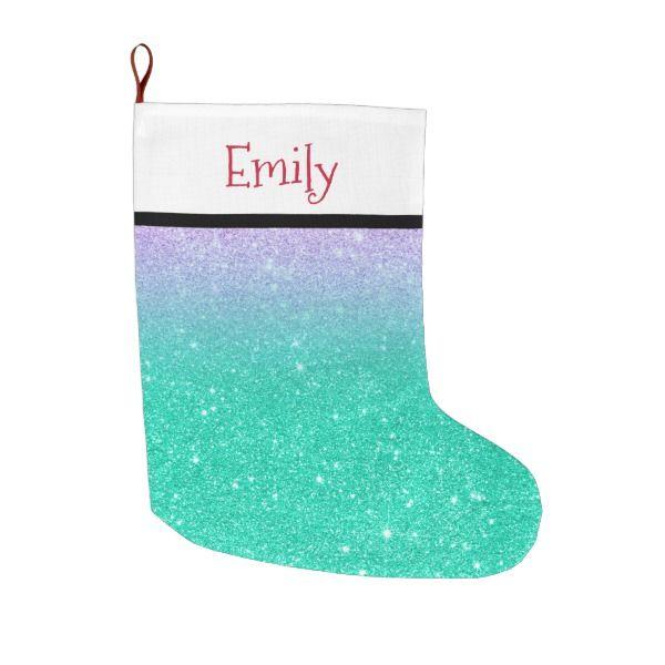Mermaid purple teal aqua glitter ombre gradient large christmas stocking #stocking #christmas #sock #xmas