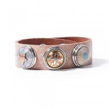 Noosa WATER NYMPHS Armband symbol print bracelet ohne Chunk light grey