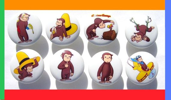 8 CUTE  CURIOUS GEORGE  Dresser Drawer knobs by PATRINASPLACE, $23.00