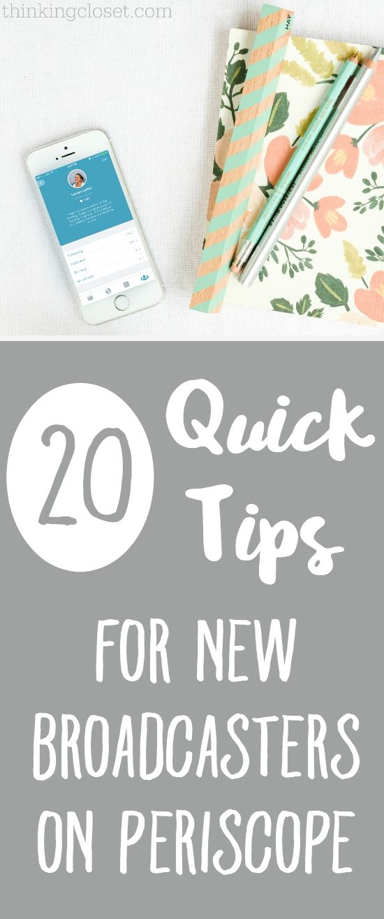 "20 Quick Tips for NEW Broadcasters on Periscope, otherwise known as ""Everything I Learned in My First Week of Broadcasts!""  I'll share technical tips I wish I had known starting off as well as some inspiration to help you overcome that hurdle of your first scope. You can do it!"
