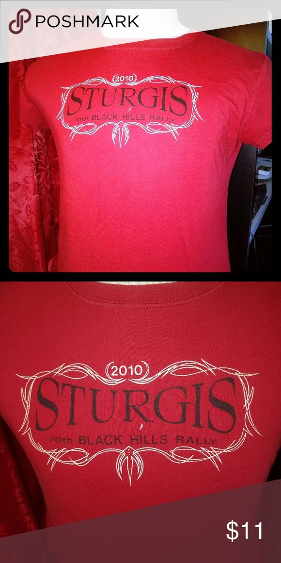 Womens Size XL Sturgis 70th Black Hills Rally 2010 This shirt has not been worn in years it's only been hanging in the closet so therefore it has not been washed much. This is from 2010 the 70th Black Hills rally in Sturgis. It is a great shirt for all you female bike riders out there. Tops Tees - Short Sleeve
