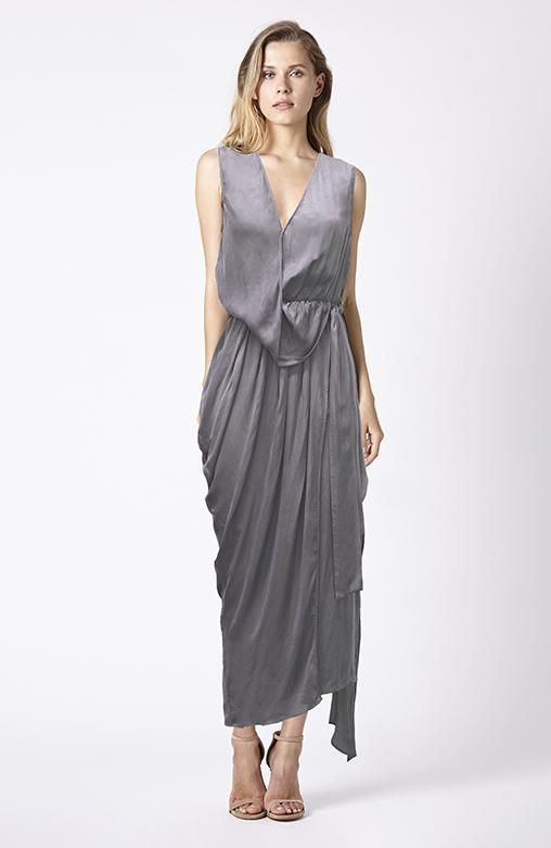 RUBY SEES ALL - Gabby Maxi - Taupe Silk