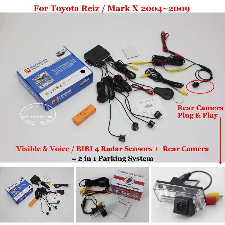 Автомобильная Стоянка Датчики + Камера Заднего вида = 2 в 1 Видео/BIBI Сигнализации Система Парковки Для Toyota Reiz/Mark X MarkX 2004 ~ 2009