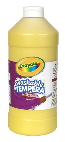 Crayola Tempera Washable Paint 32-Ounce Plastic Squeeze Bottle, Yellow Crayola http://www.amazon.com/dp/B000NPD6Z8/ref=cm_sw_r_pi_dp_wnH9tb056BW1J