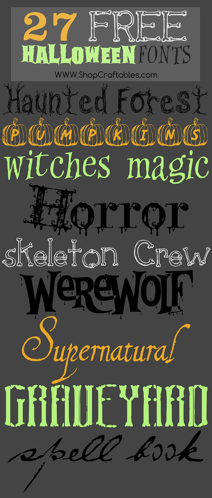 Free Halloween fonts for October!
