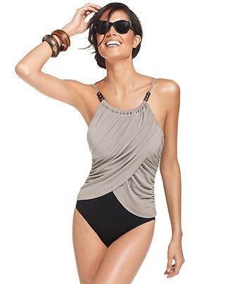 Magicsuit Swimsuit, Spaghetti-Strap Draped Colorblock One-Piece - Womens Swimwear - Macy's....gotta have this one