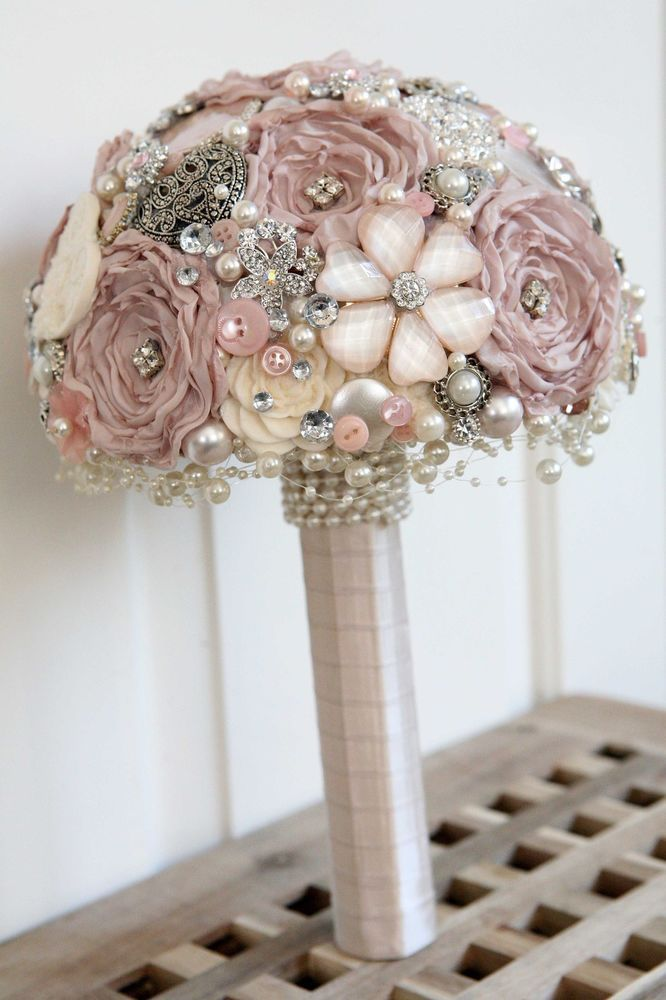 Vintage style artificial Brooch Bridal Wedding POSIE Bouquet NEW made to order in Home, Furniture & DIY | eBay