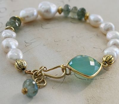 The Cara Bracelet - Aquamarine Pearl Gold-bracelet, strung, fresh water pearls, aquamarine, 14kt. gold, vermeil, feminine, wholesale, tippy stockton