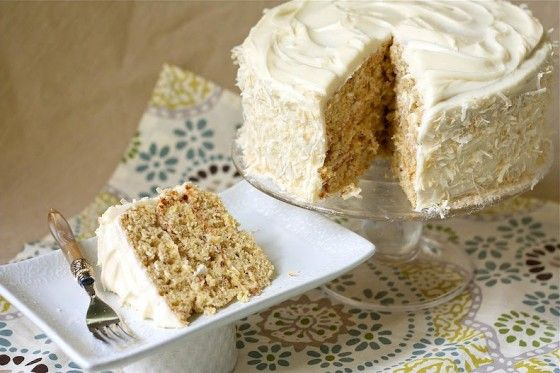 Tropical Hummingbird Cake - Pineapple, Mango and Coconut cake with Coconut Cream Cheese Frosting!