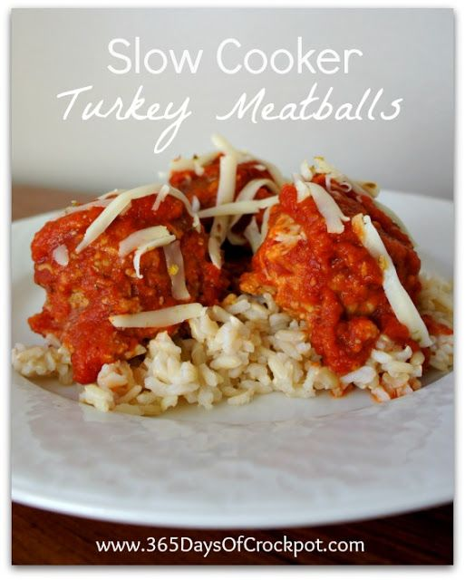 Recipe for Slow Cooker Turkey Meatballs #crockpot #slowcooker #easydinner