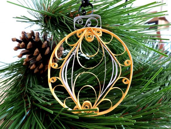 Quilled Paper Holiday Ornament  Gold and by ThePaperyCraftery, $10.00