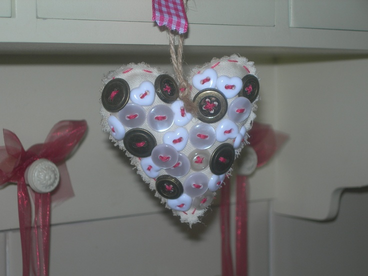 Fabric heart with vintage buttons