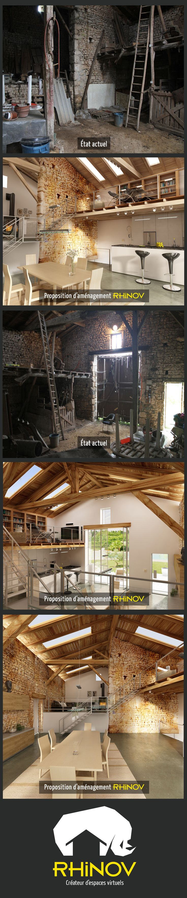 Projet d'aménagement d'une grange dans la Vienne. Rénovation complète sur salon…