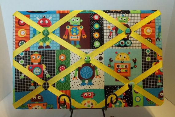 Robots and Gears French Memory Cork Board For A Boys Room. $30.00, via Etsy.