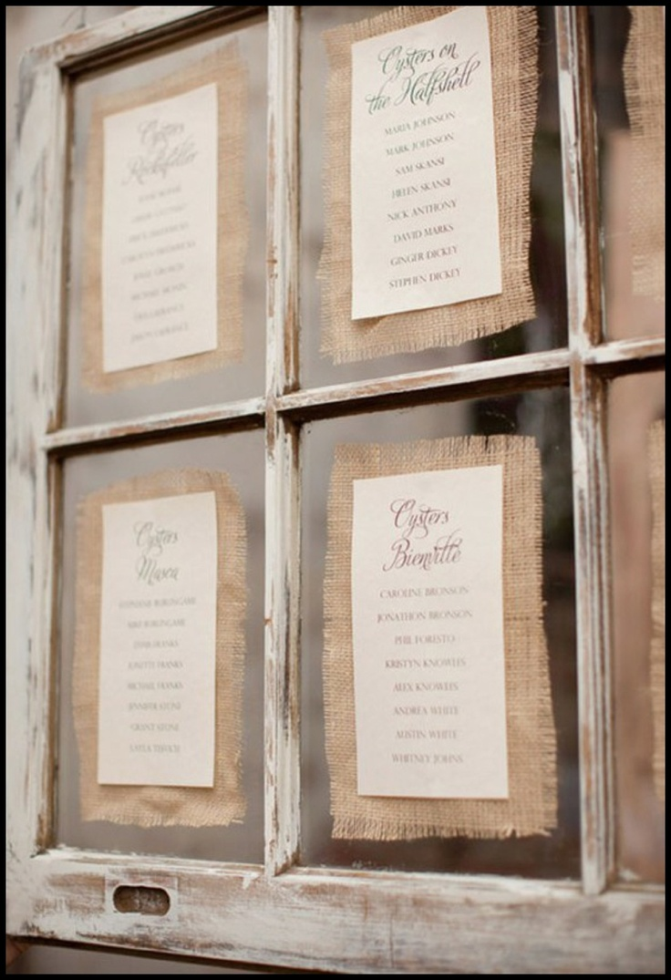 craft ideas for wedding place cards%0A burlap seating