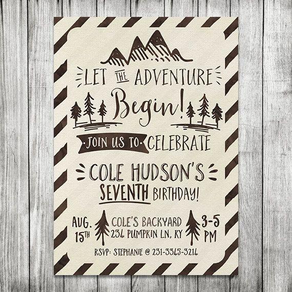 Let the Adventure Begin Birthday Invite - Adventure Birthday Invite - 5x7 JPG