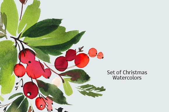 Set of Christmas watercolors by CosheArtStore on @creativemarket