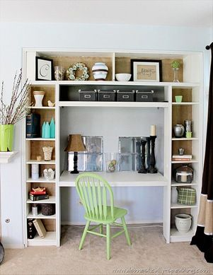 This could work in a bedroom and double the size for two kids or two adults to have their own desks side by side. DIY bookshelf desk