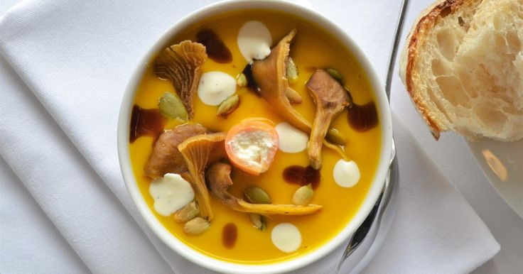By Jeremy Bloor @jezbloor, Head Chef at @OXO_Tower Restaurant.   In this recipe Jeremy Bloor combines Crown Prince pumpkins with Westcombe Somerset ricotta, sweet potato 'cannelloni' and chanterelle mushrooms to make pumpkin soup worthy of royalty.  #recipes #foodie #pumpkins #soup