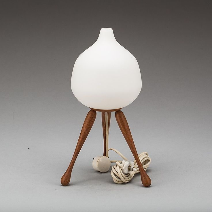 Luxus. Teak and milky white glass shade. Height 35 cm. Condition Report: Minor surface wear.