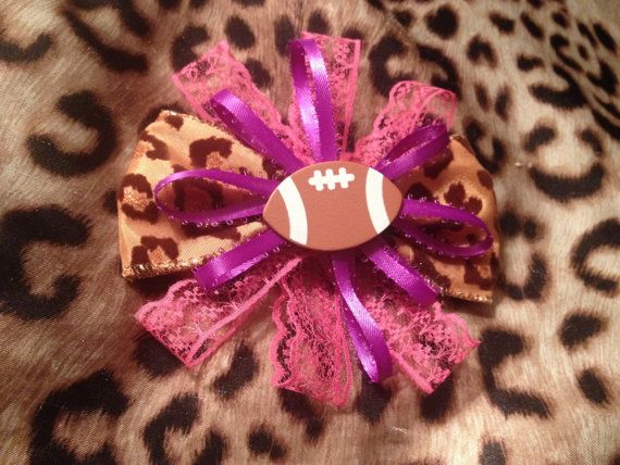 Girls like football too! Leopard print specialty BOW hair accessories or for pet on Etsy, $5.00 CAD