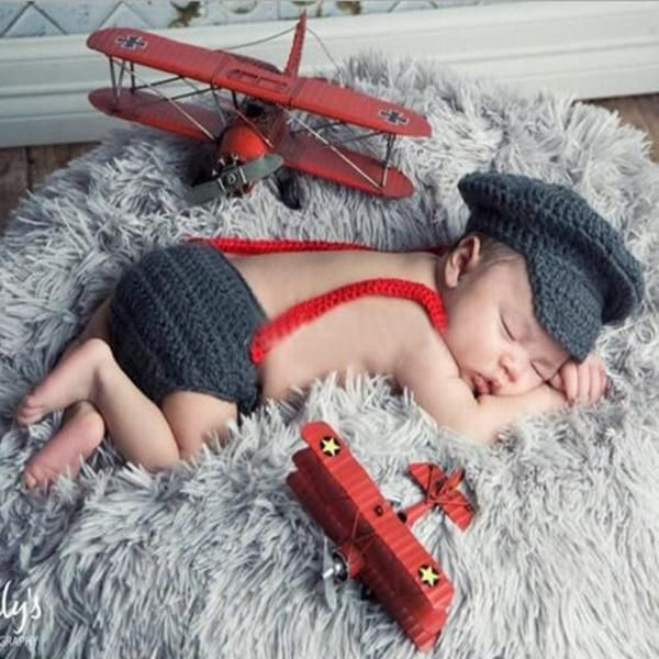 Baby Photography Props Three Piece Suit Newborn Hats Boy Red Gentleman Bow Tie