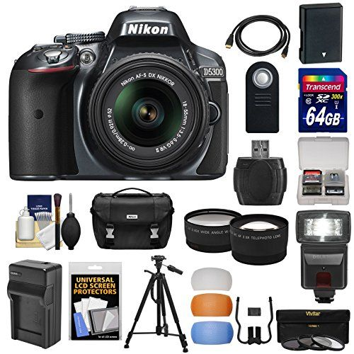 Nikon D5300 Digital SLR Camera & 18-55mm G VR DX II AF-S Lens (Grey) with 64GB Card  Battery  Charger  Case  Tripod  Flash  Tele/Wide Lens Kit
