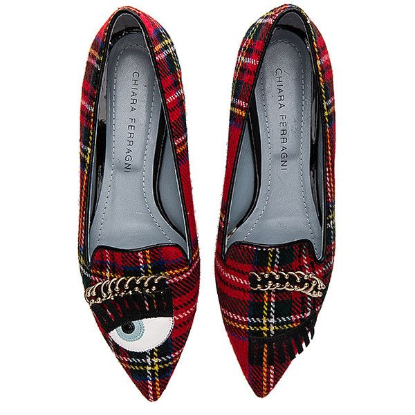 Chiara Ferragni Piercing Flirting Pointed Toe Flat (£160) ❤ liked on Polyvore featuring shoes, flats, chiara ferragni, chiara ferragni shoes, flat pumps, pointy toe flats and flat slip on shoes
