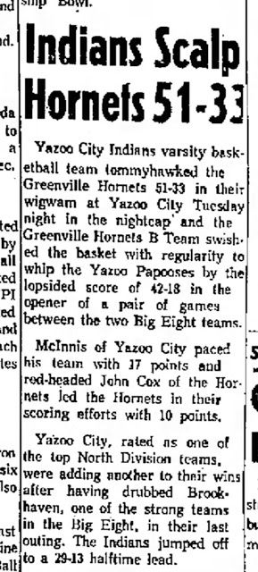 People Aren't Mascots: 1965 Yazoo City Indians SCALP Hornets