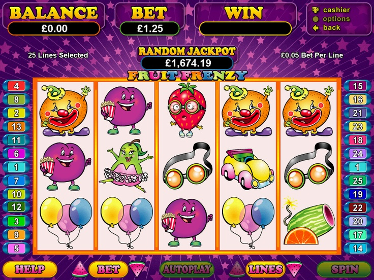 Play the RTG video slot casino game Fruit Frenzy completely free at 1OnlineCasino.com